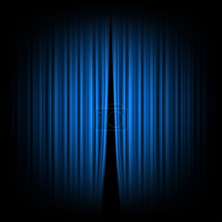Illustration for Blue closed the curtain, lit by a spotlight - Royalty Free Image