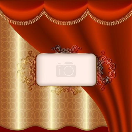 Illustration for Luxury invitation with red and gold curtain - Royalty Free Image