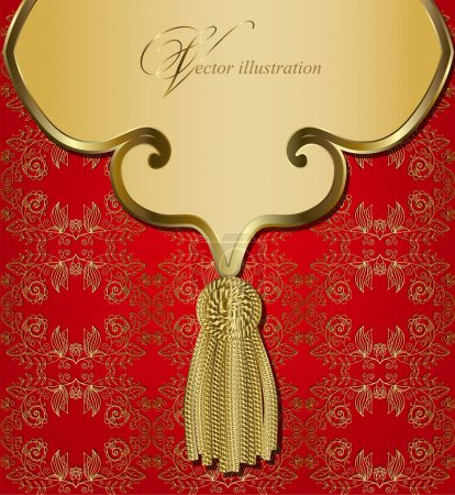 Illustration for Golden seamless pattern with a banner and a brush for the curtain - Royalty Free Image