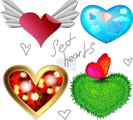 Set of design hearts icons