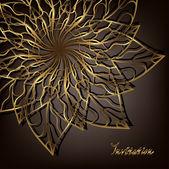 Openwork golden flower corner vignette Raster copy of vector image