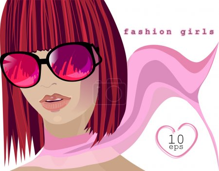 Woman wearing glasses, scarf-paced, Fashion girls, the place for your text. Raster copy of vector image