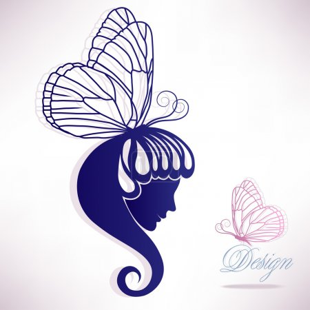 Silhouette of a beautiful female head of hair in the form of a butterfly