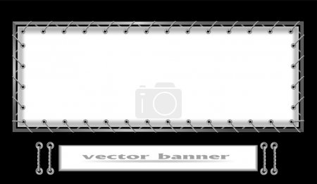 White banner strung on a metal frame
