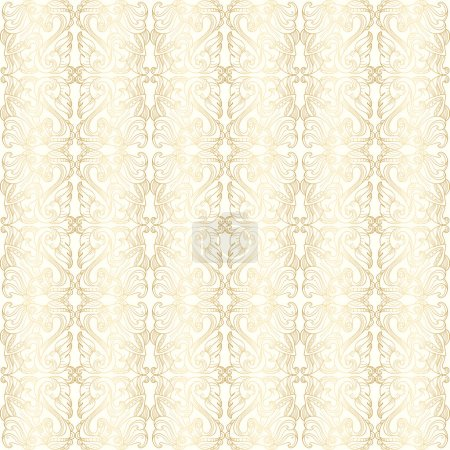 Luxury white seamless wallpaper with gold floral pattern
