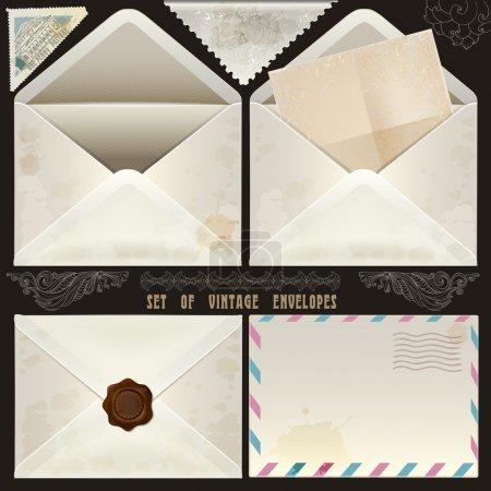 Set of vintage design elements and envelopes