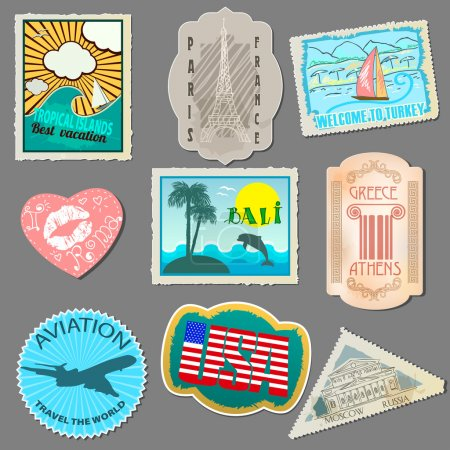 Set of stickers for travelers
