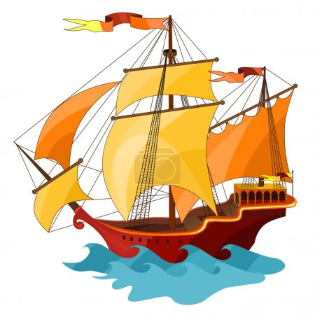 Two-masted sailing ship.