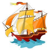 Two-masted sailing ship