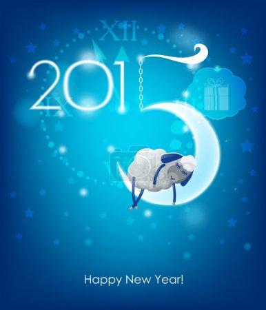 Happy New Year 2015. Original Christmas card. Sheep sleeps on a