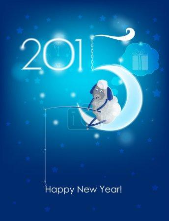 Happy New Year 2015. Original Christmas card. Sheep fishing
