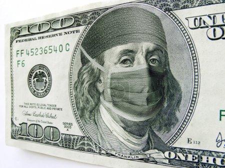 Ben Franklin Wearing Healthcare Mask on One Hundred Dollar Bill