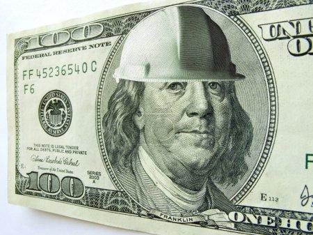 Ben Franklin One Hundred Dollar Bill Wearing Construction Hard Hat