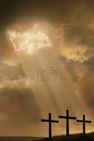 Inspirational Religous Illustration Breaking Storm Light Beams and Three Crosses