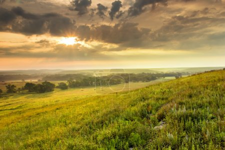 Dramatic Sunrise over the Kansas Tallgrass Prairie Preserve National Park