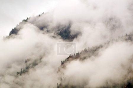 Photo pour Cette face de bluff de rocheuses colorado verticale est voilé de gros nuages et le brouillard à cette haute altitude. - image libre de droit