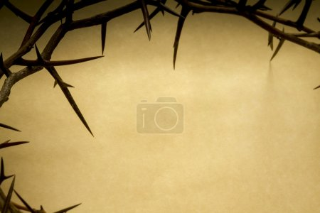Crown Of Thorns On Parchment Background Represents Jesus Crucifixion on Good Friday
