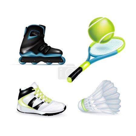 Inline skate, sport shoe and tennis racket