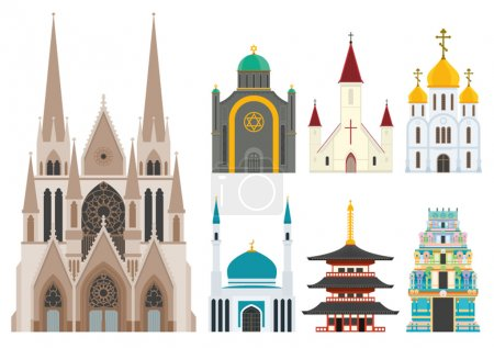 Cathedrals and churches infographic set...