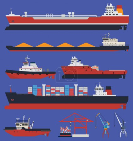 Illustration for Cargo ships and tug boats - Royalty Free Image