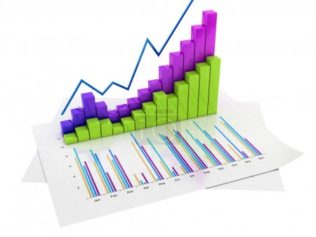 Photo for Graphs of financial analysis - Isolated on white backround - Royalty Free Image