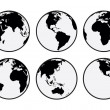 Six black and white vector Earth globes...