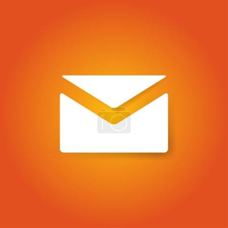 White envelope on orange background. Mail icon. Vector illustration.