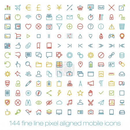144 cutting colored retro vintage icons for mobile interface. Fine line pixel aligned mobile ui icons with variable line width.