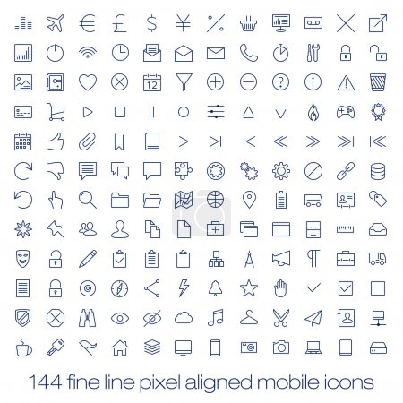 144 cutting edge modern icons for mobile interface. Fine line pixel aligned mobile ui icons with variable line width.