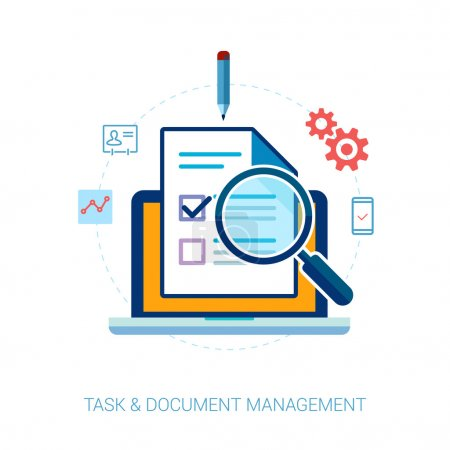 Tasks, contacts, document search, management and getting things done flat icons vector illustration.