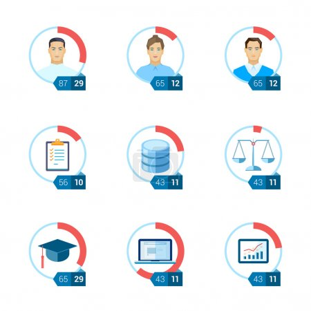 Flat icon infographic template set for education, statistic, personal, environment, law, ui, interface justice, computing, start-up, tasks, database. Part to whole ratio sector pie chart illustration.