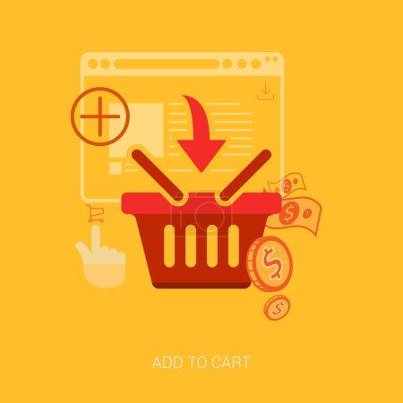 Illustration pour Icônes de design plat pour les achats en ligne. Ajouter au panier, sac ou panier e-commerce vectoriel illustration concept . - image libre de droit