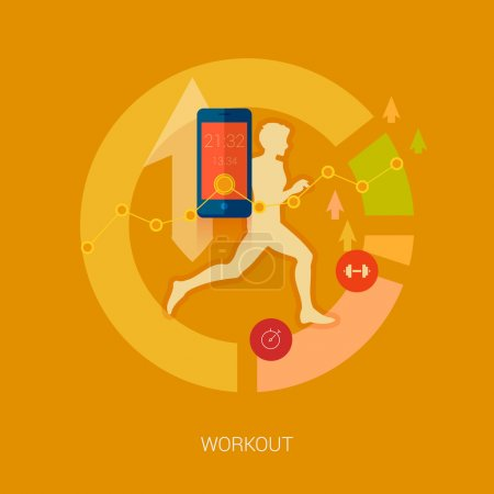 Running man vector illustration. Sporting person, workout, training and real time achievement analytic tracking through smartphone apps modern flat design icons concept.