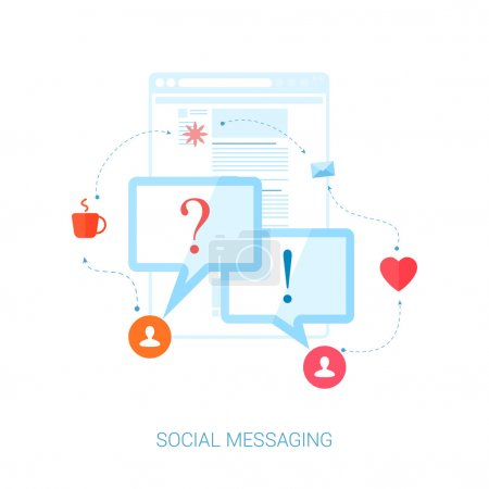 Set of modern flat design icons on the topic of social network messaging and personal communication. Short messages in speech bubbles with question and answer exclamation mark vector illustration.