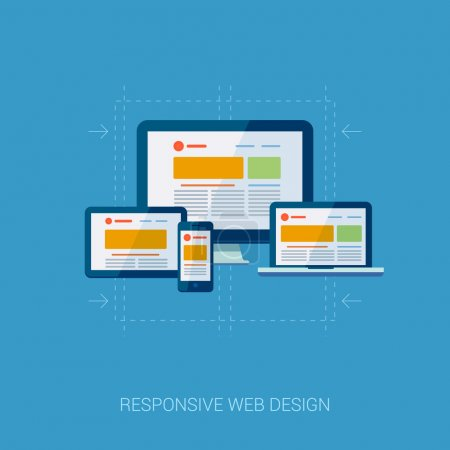 Illustration pour Icônes de conception plate pour les services web et mobiles. Applications icônes pour la publicité Internet responsive web design et la conception graphique. Tablette, ordinateur portable, téléphone mobile et écrans de bureau icônes . - image libre de droit