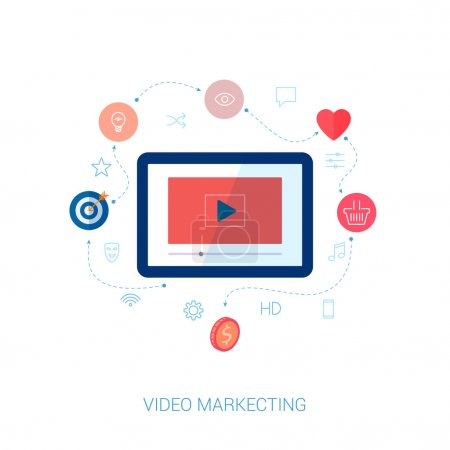 Set of modern flat design icons on the topic of web video marketing and social video presentation.