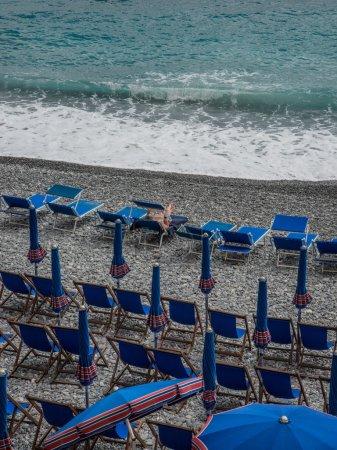 Empty Camogli Beach with sunbeds