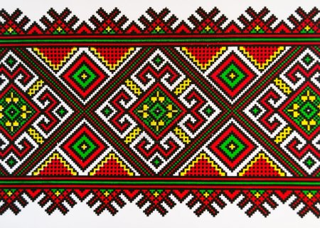 Photo for Ukrainian ornament on a towel. - Royalty Free Image