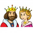 Illustrations of cute cartoon king & queen....