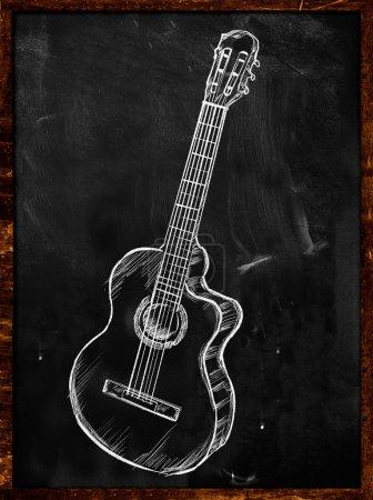 Guitar Sketch Drawing on Blackboard