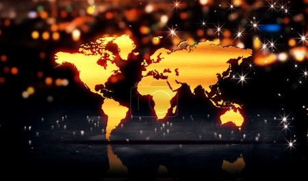 World Map Gold City Light Shine