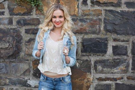 Blonde wearing denim clothes