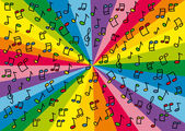Colorful music notes background illustration