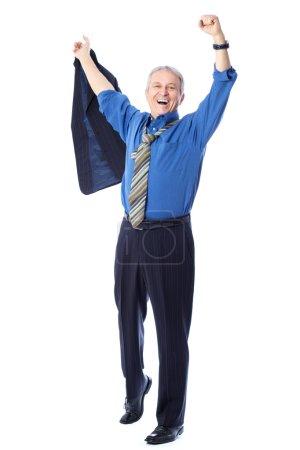 Photo pour Image d'un homme d'affaires séduit, isolé sur blanc - image libre de droit