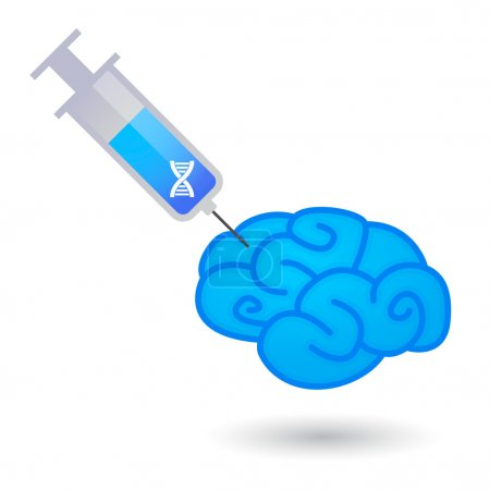 Isolated syringe and a brain