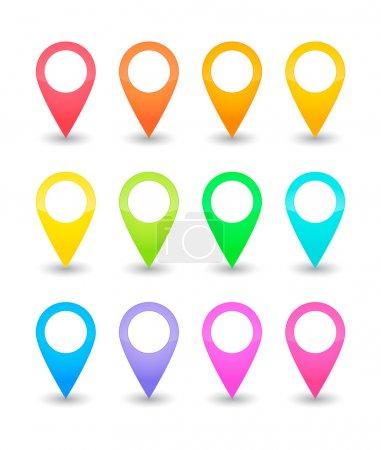 Illustration pour Douze pointeurs cartographiques en différentes couleurs - image libre de droit