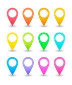 Twelve map pointers in various colors