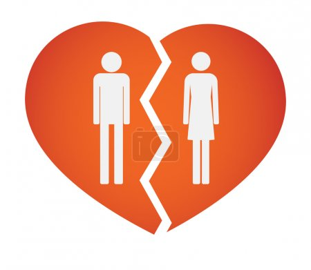 Broken heart with male and female pictograms