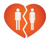 Illustration of an isolated broken heart with male and female pictograms