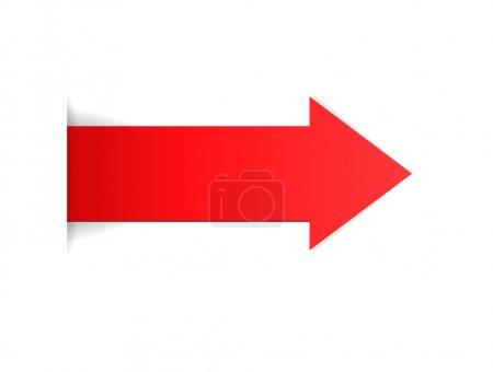 Illustration pour La flèche rouge avec effet de bord caché La flèche rouge La flèche - image libre de droit